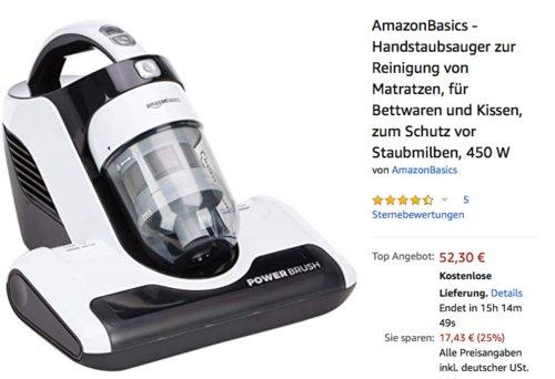 AmazonBasics Handstaubsauger zur Reinigung von Matratzen, 450 W - jetzt 25% billiger