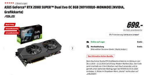 ASUS GeForce® RTX 2080 SUPER™ Dual Evo OC 8GB Gaming Grafikkarte (90YV0DJ0-M0NM00) - jetzt 10% billiger