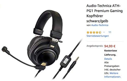 Audio-Technica ATH-PG1 Premium Gaming Kopfhörer, schwarz/gelb - jetzt 20% billiger