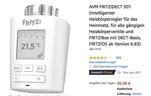 AVM FRITZ!DECT 301 Intelligenter Heizkörperregler - jetzt 18% billiger