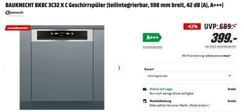 BAUKNECHT BKBC 3C32 X C Geschirrspüler (A+++, teilintegrierbar, 598 mm breit) - jetzt 9% billiger