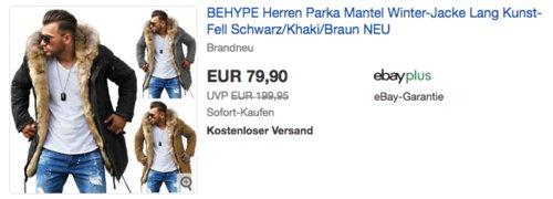 BEHYPE Herren Parka, Winter-Jacke mit langem Kunstfell & Kapuze (MT-7250) - jetzt 20% billiger