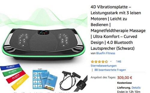 Bluefin Fitness 4D Vibrationsplatte (Magnetfeldtherapie, Massage, Bluetooth, Lautsprecher) - jetzt 34% billiger