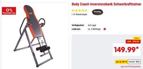Body Coach Inversionsbank/Schwerkrafttrainer, max. 100 kg - jetzt 6% billiger