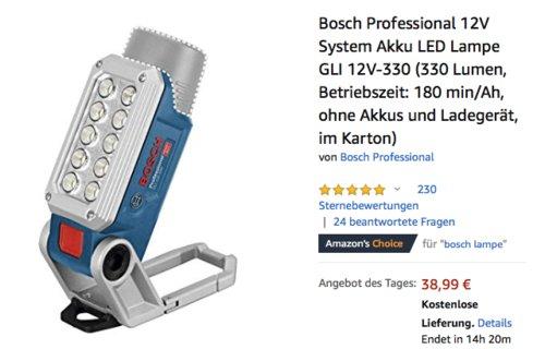 Bosch Professional 12V System Akku LED-Lampe GLI 12V-330 (ohne Akkus und Ladegerät) - jetzt 19% billiger