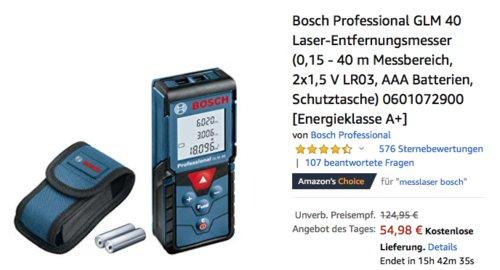 Bosch Professional GLM 40 Laser-Entfernungsmesser (0,15 - 40 m Messbereich) - jetzt 27% billiger