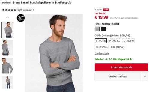 Bruno Banani Herren Rundhalspullover in Streifenoptik, hellgrau oder schwarz - jetzt 50% billiger