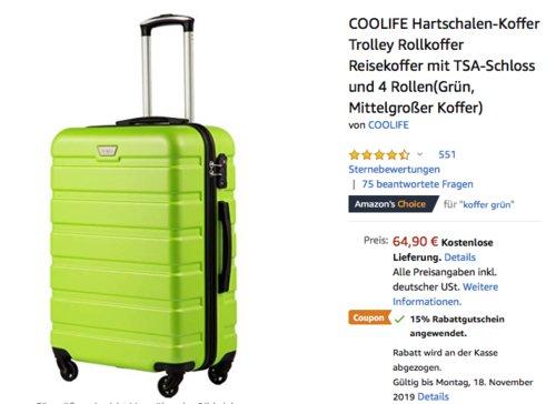 COOLIFE Hartschalen-Koffer 60 Liter, versch. Farben - jetzt 15% billiger
