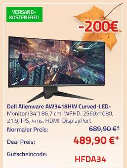 "Dell Alienware AW3418HW (34"") 86,7 cm Curved-LED-Monitor (WFHD, 2560x1080, 21:9, IPS, 4ms, HDMI, DisplayPort) - jetzt 29% billiger"