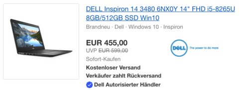 """DELL Inspiron 14 3480 Notebook (14"""", FHD, i5-8265U, 8GB/512GB SSD, Win10) - jetzt 13% billiger"""