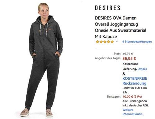 DESIRES OVA Damen Overall/Jumpsuit mit Kapuze, versch. Farben und Größen - jetzt 21% billiger