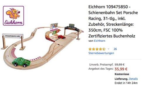 """Eichhorn 109475850 - Schienenbahn Set """"Porsche Racing"""", 31-teilig - jetzt 27% billiger"""
