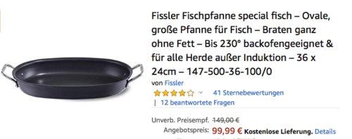 Fissler Pfanne Special Fisch Ovale, 36 x 24cm - jetzt 13% billiger