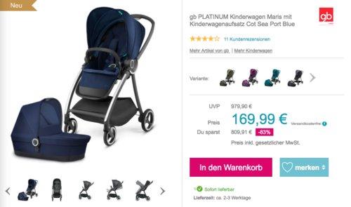 gb PLATINUM Kinderwagen Maris mit Kinderwagenaufsatz Cot, versch. Farben - jetzt 44% billiger