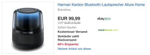Harman Kardon Bluetooth-Lautsprecher Allure Home, Alexa-Integration - jetzt 32% billiger