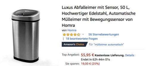 Homra Luxus Abfalleimer mit Sensor, 50 L - jetzt 25% billiger