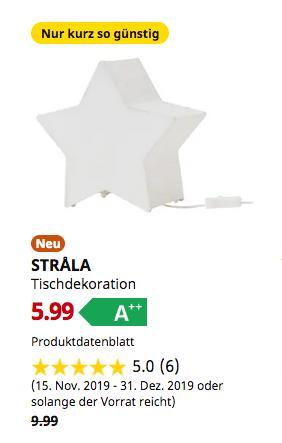IKEA Berlin-Spandau - STRALA Tischdekoration, sternförmig, weiß - jetzt 40% billiger