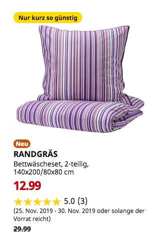 IKEA Bremerhaven - RANDGRÄS Bettwäscheset, 2-teilig, lila, Streifen, 140x200/80x80 cm - jetzt 57% billiger