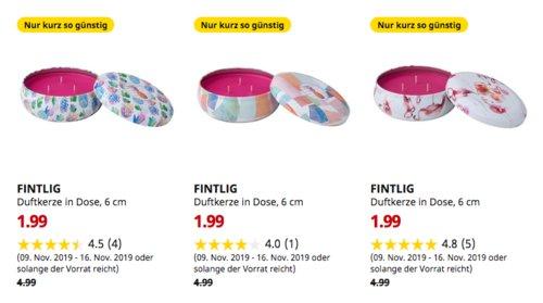 IKEA Brinkum - FINTLIG Duftkerze in Dose, 6 cm, versch. Dufte - jetzt 60% billiger