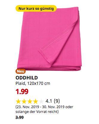 IKEA Brinkum - ODDHILD Plaid, leuchtendrosa, 120x170 cm - jetzt 50% billiger