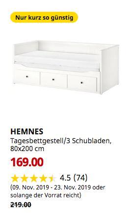 IKEA Chemnitz - HEMNES Tagesbettgestell/3 Schubladen, weiß, 80x200 cm - jetzt 23% billiger