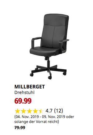 IKEA Chemnitz - MILLBERGET Drehstuhl, Bomstad schwarz - jetzt 13% billiger