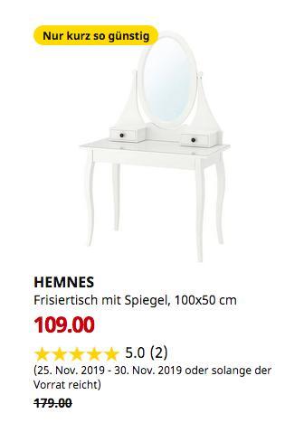 IKEA Düsseldorf - HEMNES Frisiertisch mit Spiegel, weiß, 100x50 cm - jetzt 39% billiger