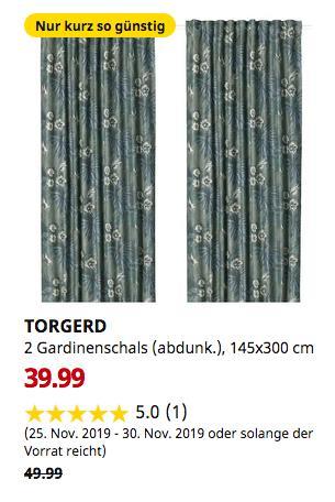 IKEA Dresden - TORGERD 2 Gardinenschals (abdunk.), blau, grün, 145x300 cm - jetzt 20% billiger