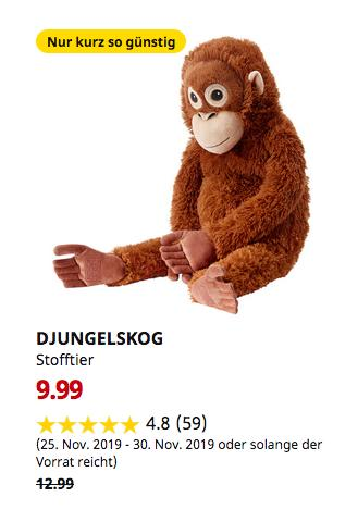 IKEA Frankfurt - DJUNGELSKOG Stofftier, Orang-Utan - jetzt 23% billiger