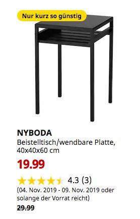 IKEA Großburgwedel - NYBODA Beistelltisch/wendbare Platte, schwarz/beige, 40x40x60 cm - jetzt 33% billiger