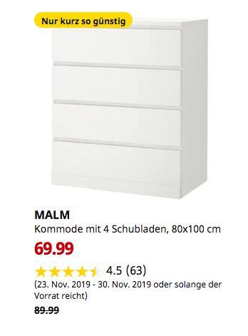 IKEA Halle/Leipzig - MALM Kommode mit 4 Schubladen, weiß, 80x100 cm - jetzt 22% billiger