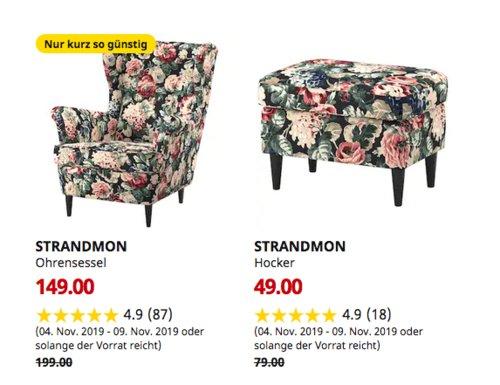 IKEA Hamburg-Altona - STRANDMON Ohrensessel, Lingbo bunt - jetzt 25% billiger