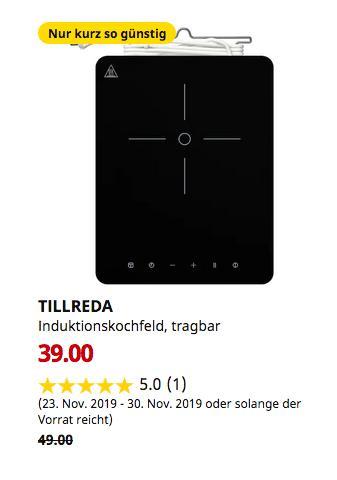 IKEA Hamburg-Altona - TILLREDA Induktionskochfeld, tragbar, weiß - jetzt 20% billiger