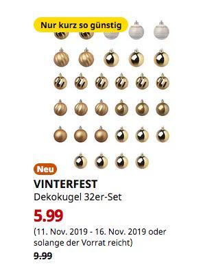 IKEA Hamburg-Moorfleet - VINTERFEST Dekokugel 32er-Set, weiß/goldfarben - jetzt 40% billiger