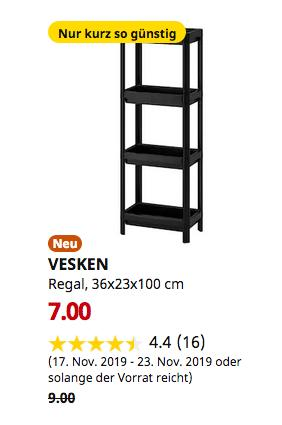 IKEA Hamburg-Schnelsen - VESKEN Regal, schwarz, 36x23x100 cm - jetzt 22% billiger