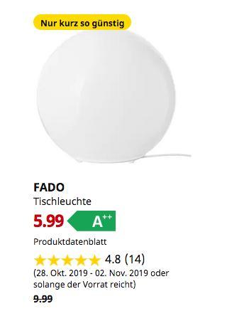 IKEA Hanau - FADO Tischleuchte, weiß,25 cm - jetzt 40% billiger