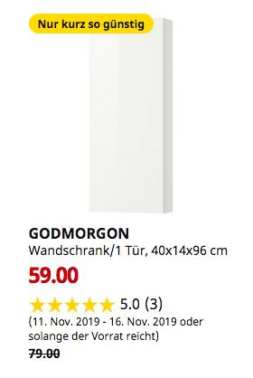 IKEA Köln-Godorf - GODMORGON Wandschrank/1 Tür, Hochglanz weiß, 40x14x96 cm - jetzt 25% billiger