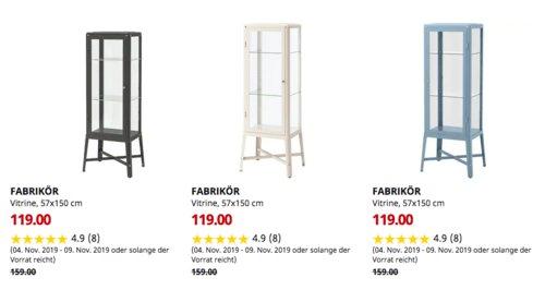 IKEA Kaarst - FABRIKÖR Vitrine, 57x150 cm (dunkelgrau,beige oder blau) - jetzt 25% billiger