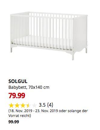 IKEA Kaarst - SOLGUL Babybett, weiß, 70x140 cm - jetzt 20% billiger