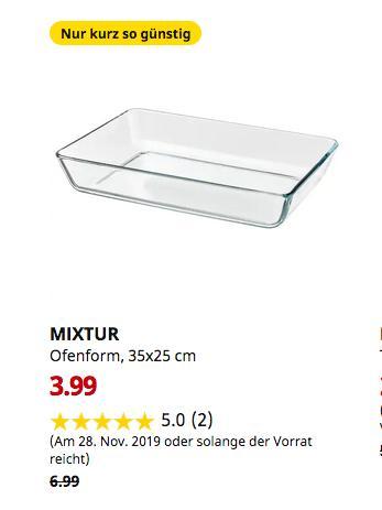 IKEA Kaiserslautern - MIXTUR Ofenform, Klarglas, 35x25 cm - jetzt 43% billiger