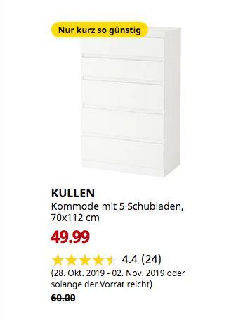 IKEA Ludwigsburg - KULLEN Kommode mit 5 Schubladen, weiß, 70x112 cm - jetzt 17% billiger
