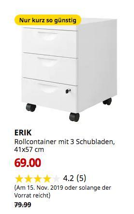 IKEA Osnabrück - ERIK Rollcontainer mit 3 Schubladen, weiß, 41x57 cm - jetzt 14% billiger