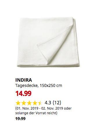 IKEA Osnabrück - INDIRA Tagesdecke, weiß, 150x250 cm - jetzt 20% billiger
