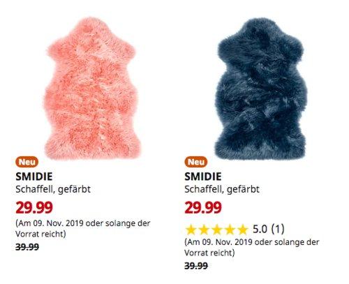 IKEA Osnabrück - SMIDIE Schaffell, gefärbt, dunkelblau oder rosa - jetzt 25% billiger