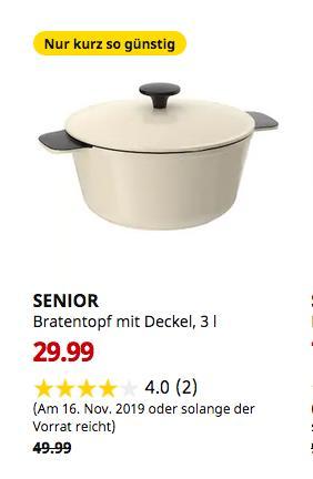 IKEARegensburg - SENIOR Bratentopf mit Deckel, weiß elfenbeinweiß, 3 l - jetzt 40% billiger