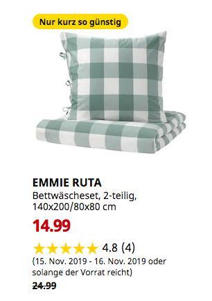 IKEA Saarlouis - EMMIE RUTA Bettwäscheset, 2-teilig, grün, weiß, 140x200/80x80 cm - jetzt 40% billiger