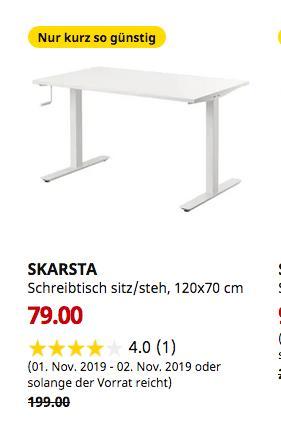 IKEA Saarlouis - SKARSTA Schreibtisch sitz/steh, weiß, 120x70 cm - jetzt 60% billiger