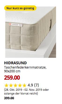 IKEA Sindelfingen - HIDRASUND Taschenfederkernmatratze, fest, natur, 90x200 cm - jetzt 35% billiger