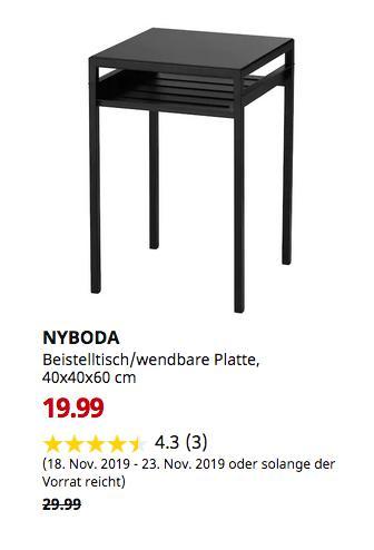 IKEA Ulm - NYBODA Beistelltisch/wendbare Platte, schwarz/beige, 40x40x60 cm - jetzt 33% billiger