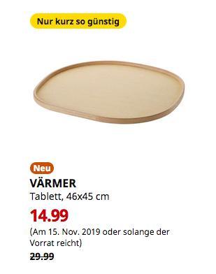 IKEA VÄRMER Tablett, Eschenfurnier, 46x45 cm - jetzt 50% billiger